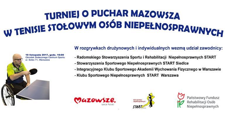 Plakat turnieju Puchar Mazowsza w Tenisie Stołowym Niepełnosprawnych