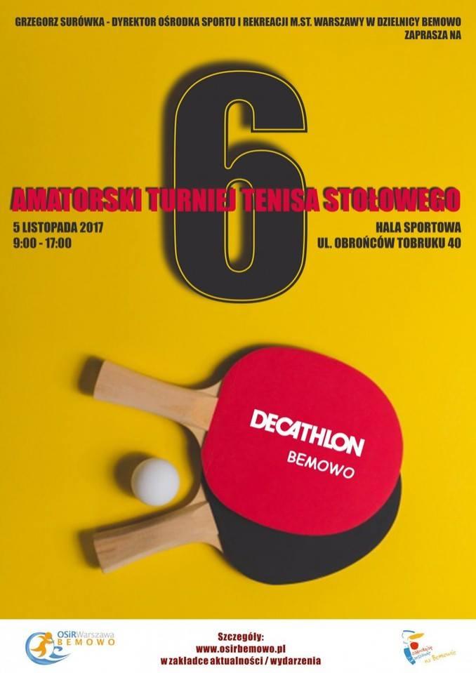 Plakat turnieju VI Amatorski Turniej Tenisa Stołowego