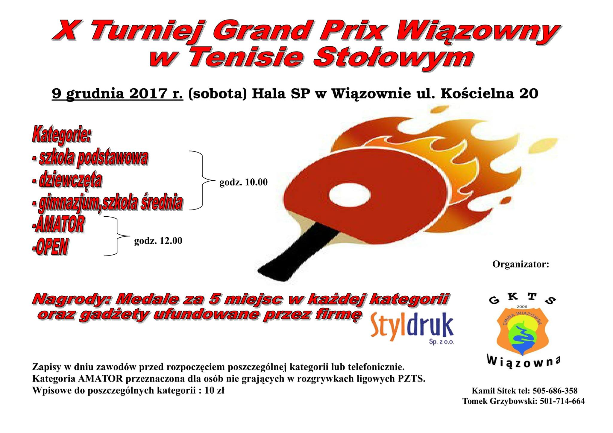 Plakat turnieju X Turniej Grand Prix WIązowny w Tenisie Stołowym