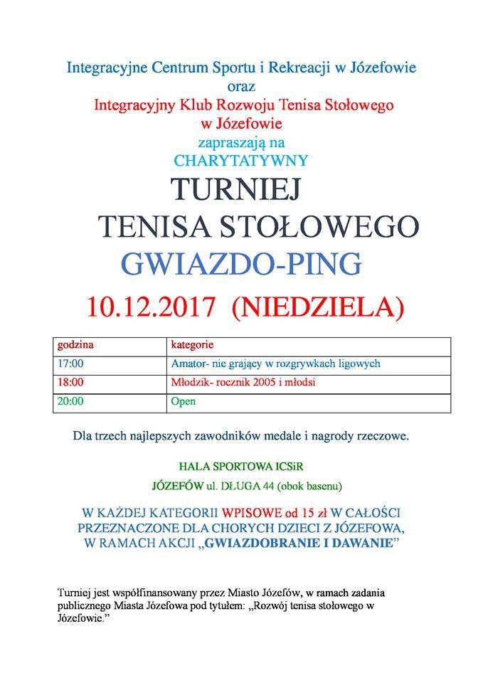 Plakat turnieju Truniej Tenisa Stołowego Gwiazdo-Ping