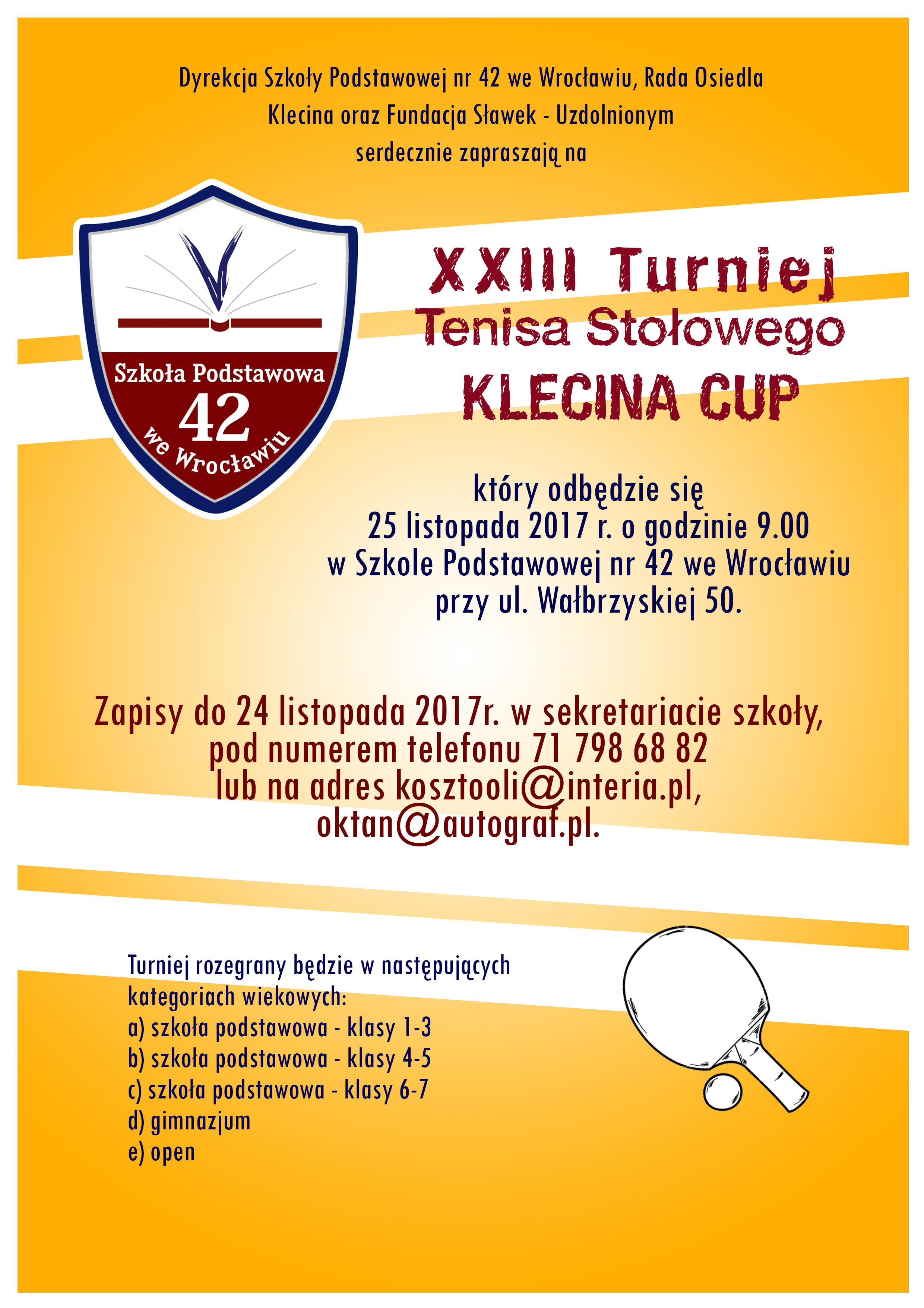 Plakat turnieju XXIII Turniej Tenisa Stołowego KLECINA CUP