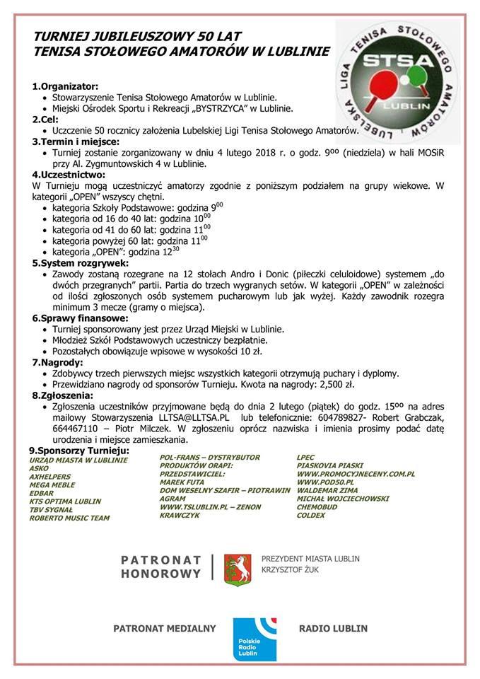 Plakat turnieju Turniej jubileuszowy 50 lat tenisa stołowego amatorów w Lublinie
