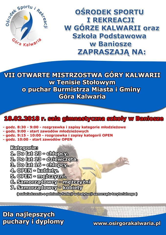 Plakat turnieju VII OTWARTE MISTRZOSTWA GÓRY KALWARII w Tenisie Stołowym o puchar Burmistrza Miasta i Gminy Góra Kalwaria