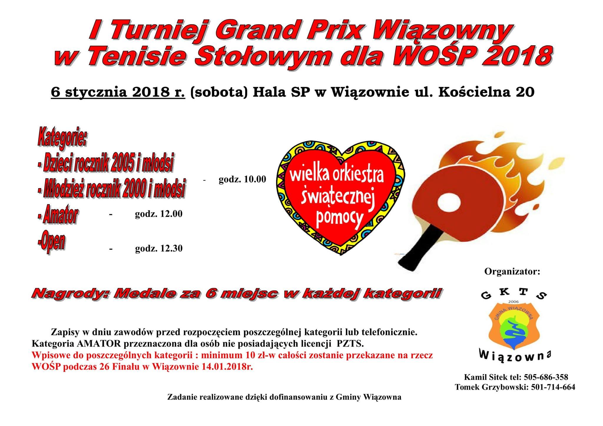 Plakat turnieju I Grand Prix Wiązowny w Tenisie Stołowym dla WOŚP 2018