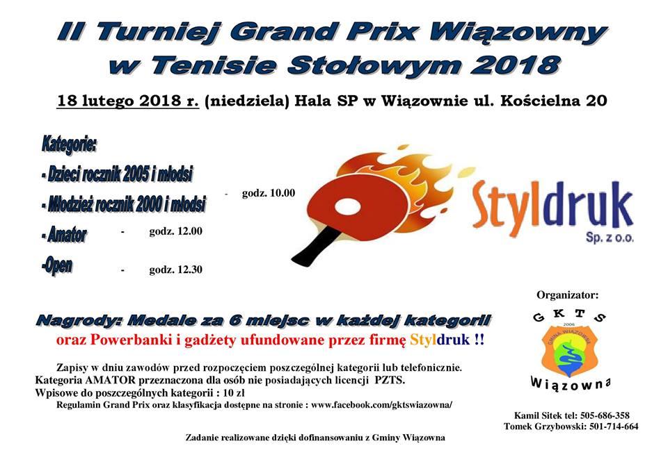 Plakat turnieju II Turniej Grand Prix Wiązowny w Tenisie Stołowym 2018