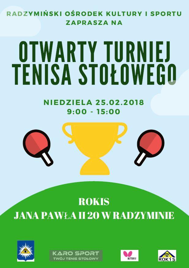 Plakat turnieju Otwarty Turniej Tenisa Stołowego w Radzyminie