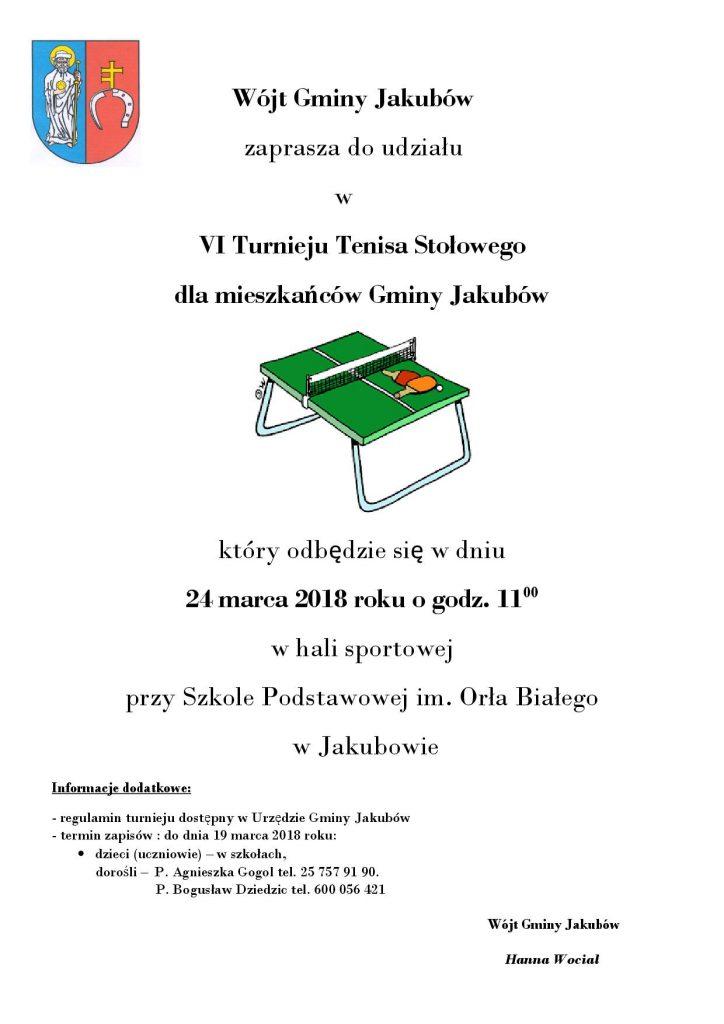 Plakat turnieju VI Turniej Tenisa Stołowego dla mieszkańców Gminy Jakubów