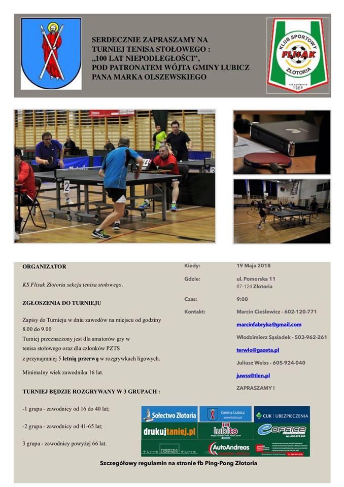 Plakat turnieju Turniej Tenisa Stołowego 100 Lat Niepodległości