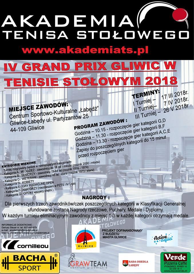Plakat turnieju IV Grand Prix Gliwic w Tenisie Stołowym - Turniej 1