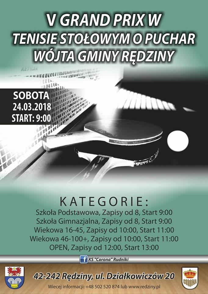 Plakat turnieju V Grand Prix o Puchar Wójta Gminy Rędziny w Tenisie Stołowym