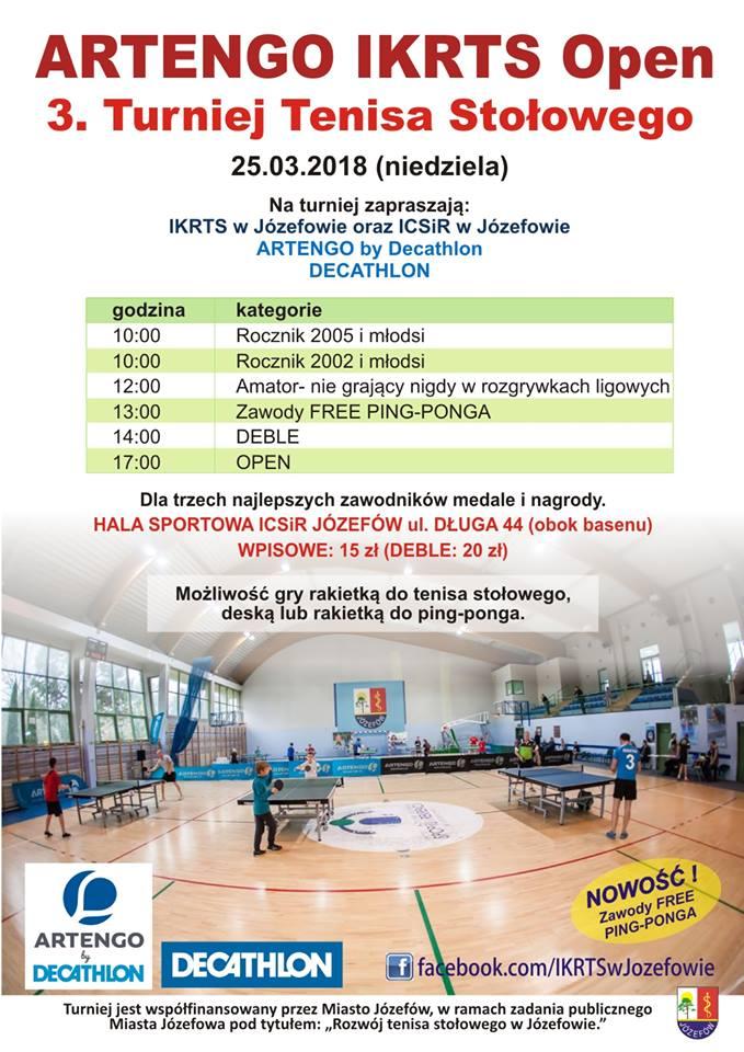 Plakat turnieju ARTENGO IKRTS OPEN 3 Turnieju Tenisa Stołowego