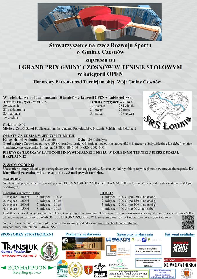 Plakat turnieju  I GRAND PRIX Gminy Czosnów w tenisie stołowym- 8 turniej