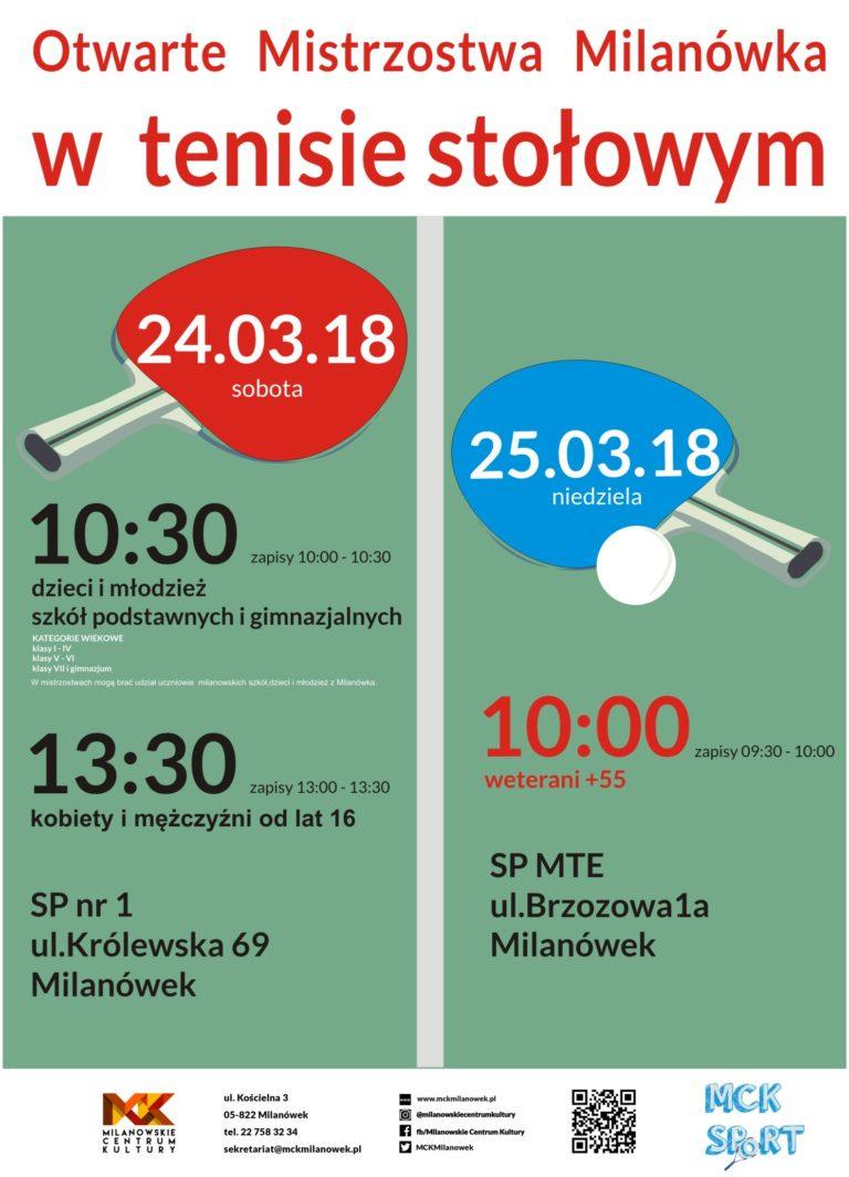 Plakat turnieju Otwarte Mistrzostwa Milanówka w tenisie stołowym