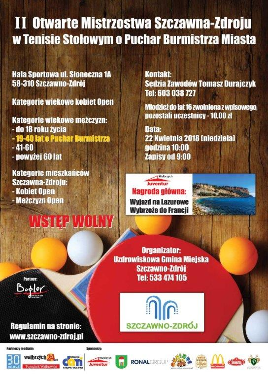 Plakat turnieju II Otwarte Mistrzostwa Szczawna-Zdroju w Tenisie Stołowym o Puchar Burmistrza Miasta