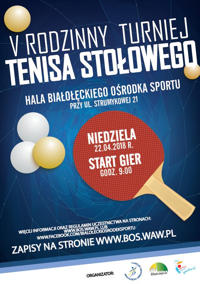Plakat turnieju V Rodzinny Turniej Tenisa Stołowego - Białołęka