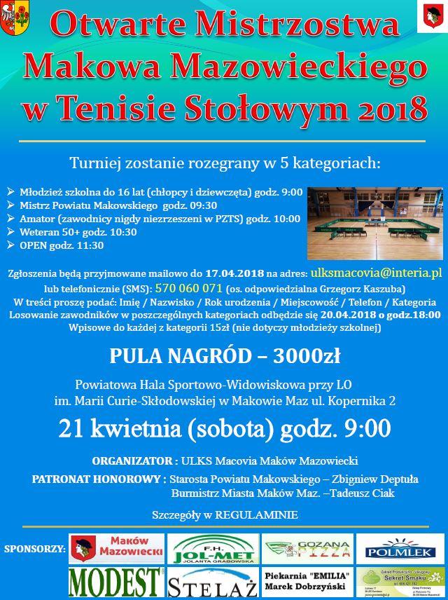 Plakat turnieju Otwarte Mistrzostwa Makowa Mazowieckiego w Tenisie Stołowym 2018