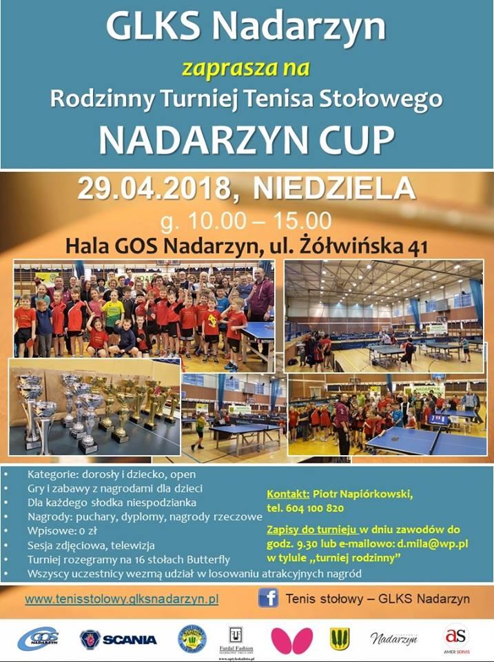 Plakat turnieju Rodzinny Turniej Tenisa Stołowego Nadarzyn CUP
