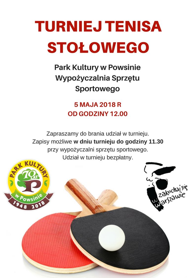 Plakat turnieju Turniej Tenisa Stołowego w Powsinie