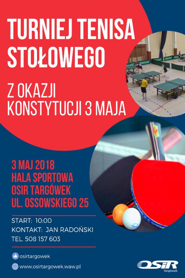 Plakat turnieju Turniej Tenisa Stołowego z Okazji Konstytucji 3 Maja