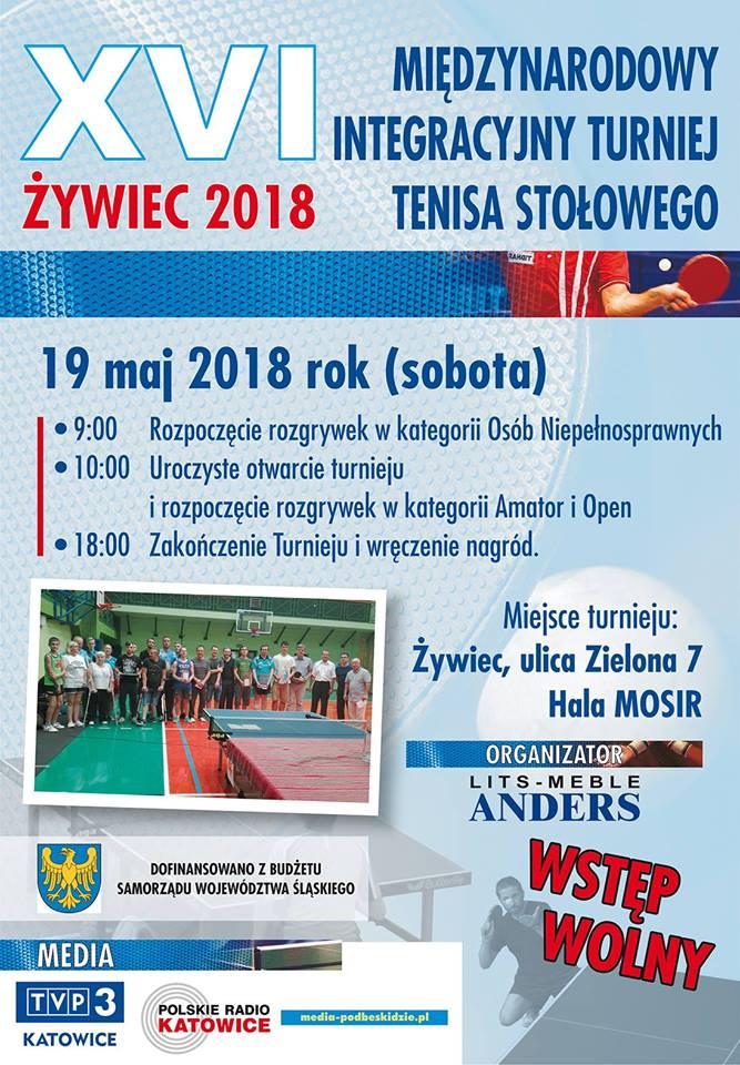 Plakat turnieju Międzynarodowy Integracyjny Turniej Tenisa Stołowego