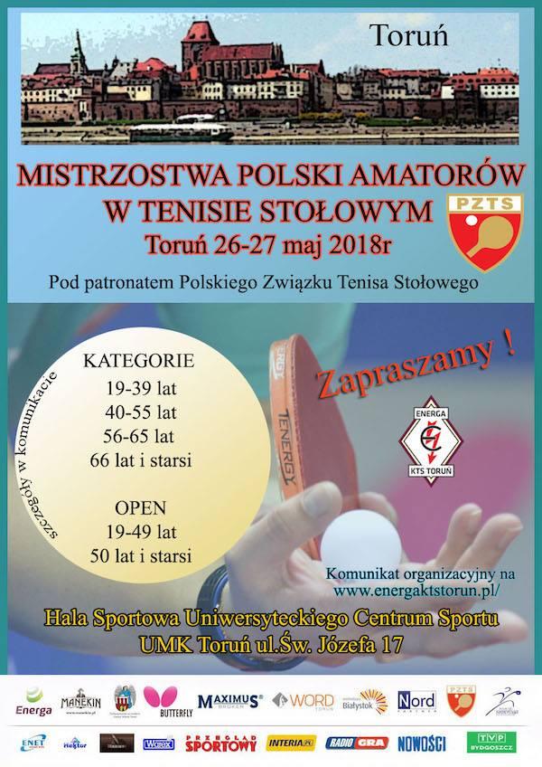Plakat turnieju MISTRZOSTW POLSKI AMATORÓW  W TENISIE STOŁOWYM POD PATRONATEM POLSKIEGO ZWIĄZKU TENISA STOŁOWEGO