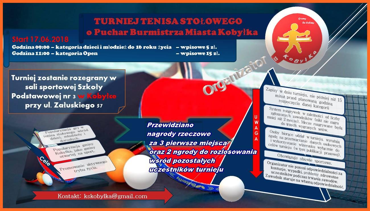 Plakat turnieju TURNIEJ TENISA STOŁOWEGO O PUCHAR BURMISTRZA MIASTA KOBYŁKA