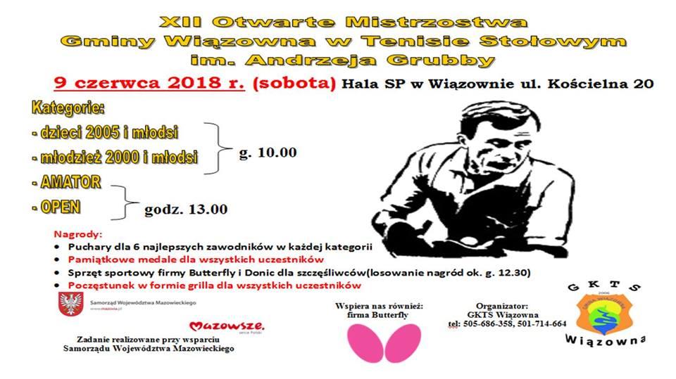 Plakat turnieju XII Otwarte Mistrzostwa Gminy Wiązowna im. Andrzeja Grubby