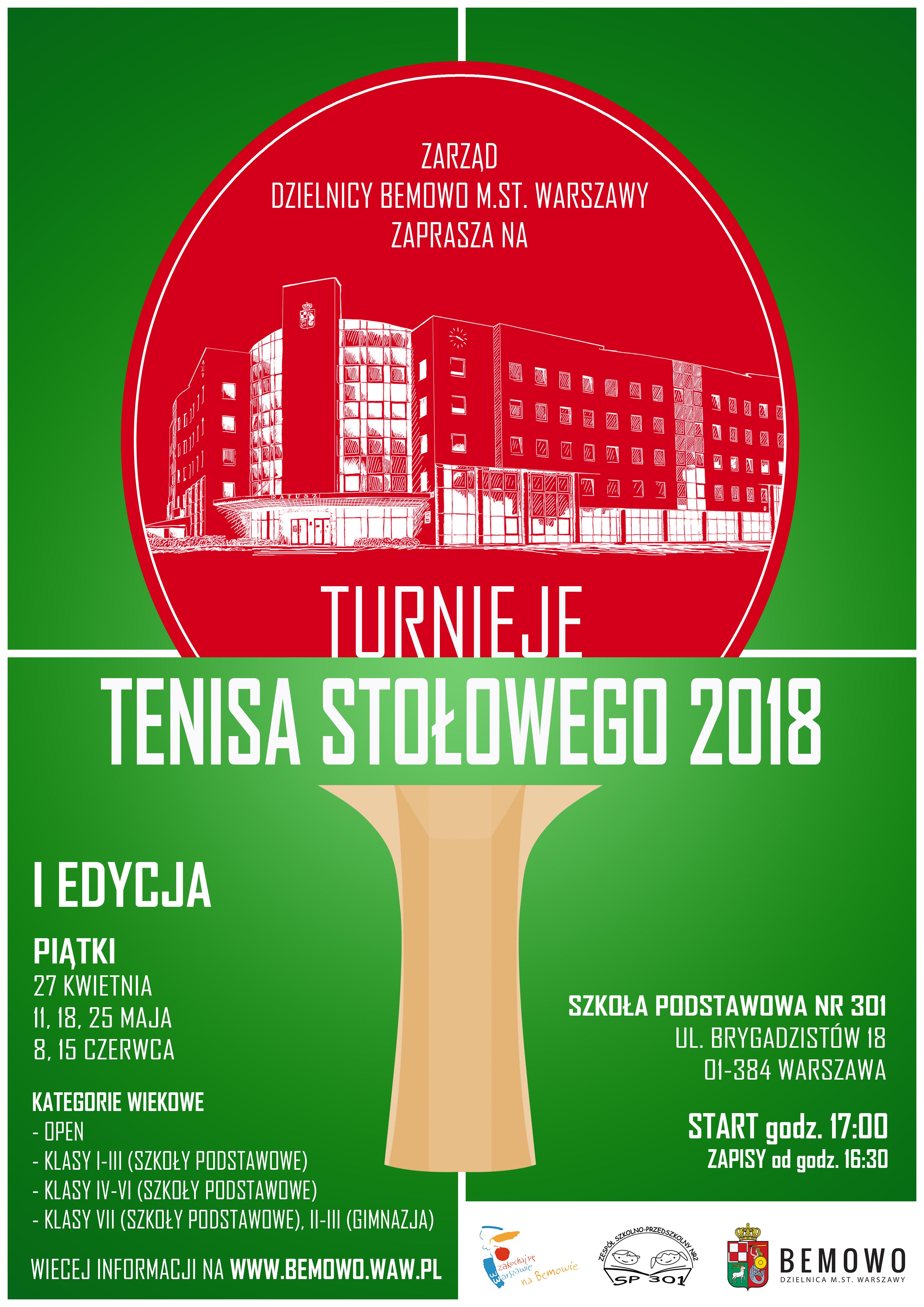 Plakat turnieju Turnieje tenisa stołowego Bemowo- edycja wiosenna