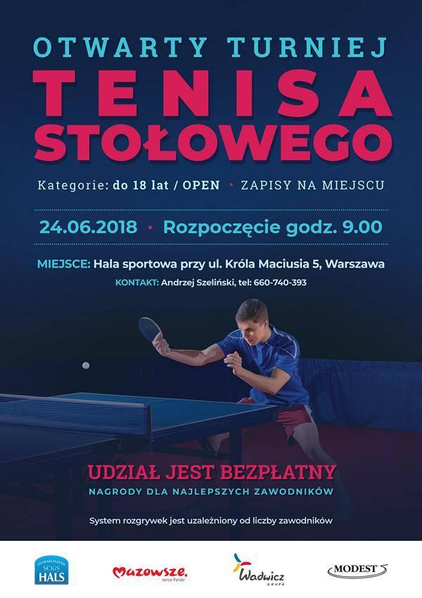 Plakat turnieju OTWARTY TURNIEJ TENISA STOŁOWEGO
