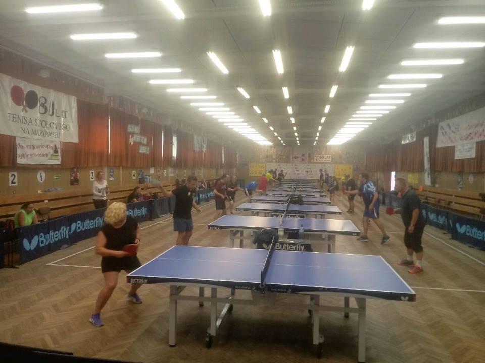 Plakat turnieju 1 Letni Turniej tenisa stołowego K.S. Spójnia Warszawa 2018