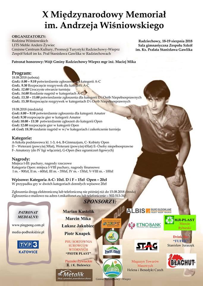 Plakat turnieju X Międzynarodowy Memoriał im. Andrzeja Wiśniowskiego