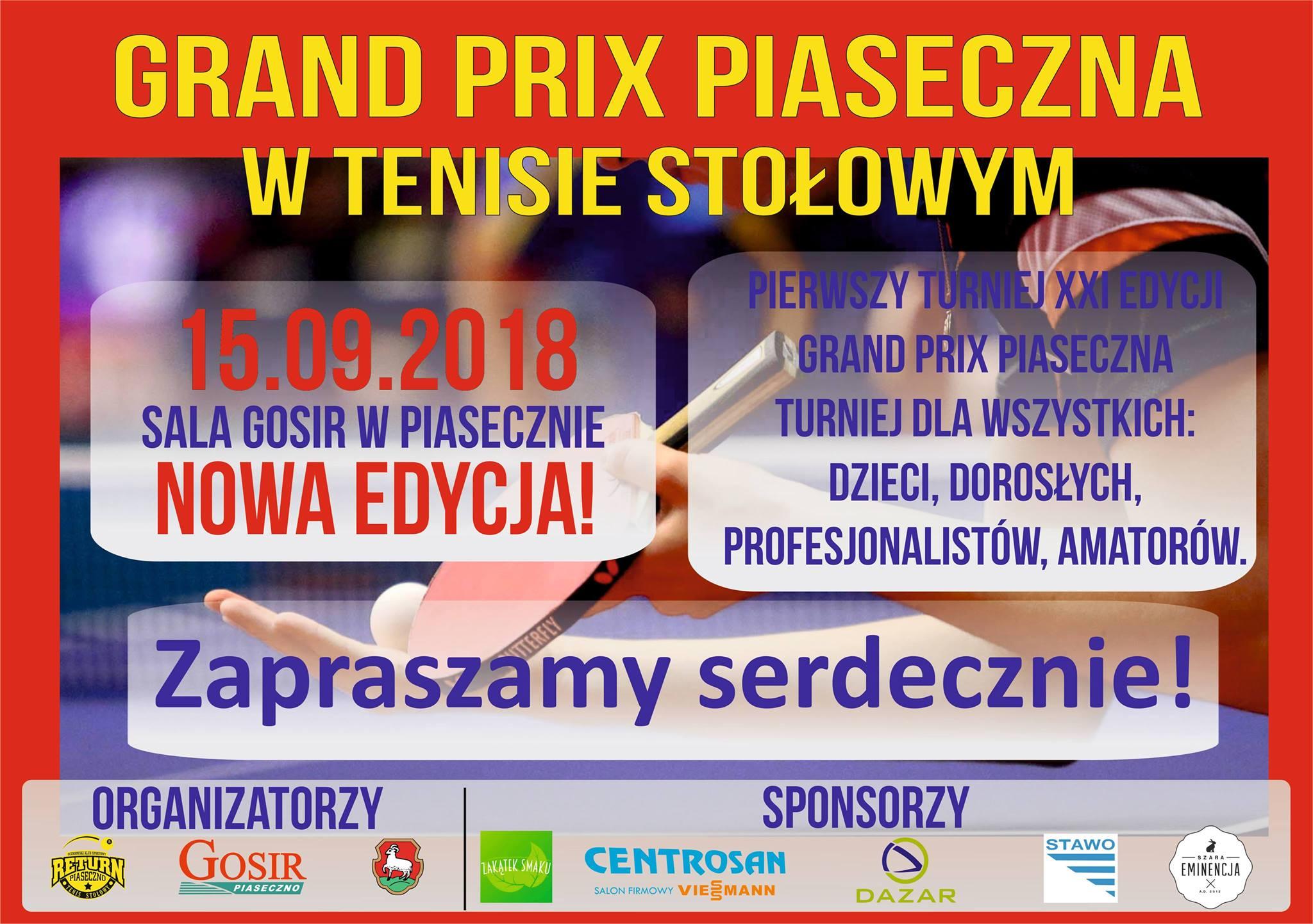 Plakat turnieju I Grand Prix Piaseczna w tenisie stołowym XXI edycji