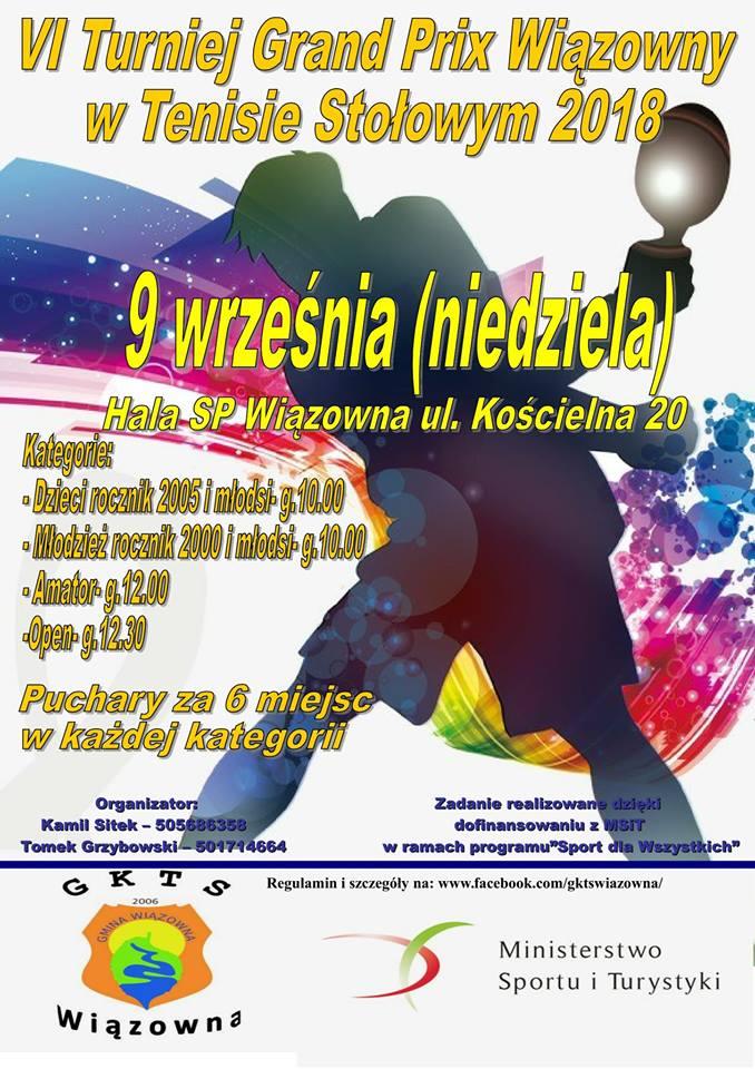 Plakat turnieju V Grand Prix Wiązowny w Tenisie Stołowym 2018