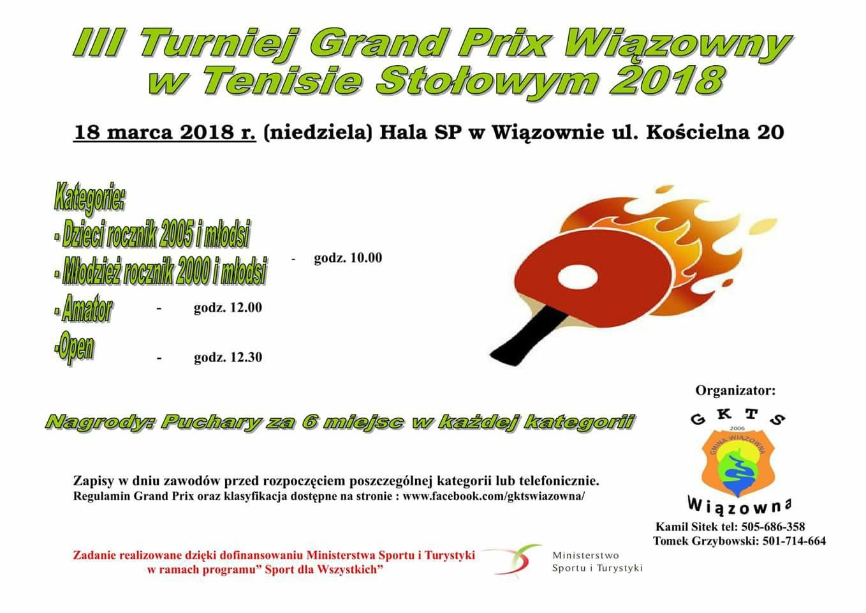 Plakat turnieju III Turniej Grand Prix Wiązowny w Tenisie Stołowym 2018