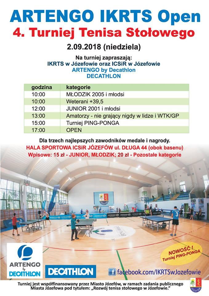 Plakat turnieju Artengo IKRTS Open 4. Turniej Tenisa Stołowego