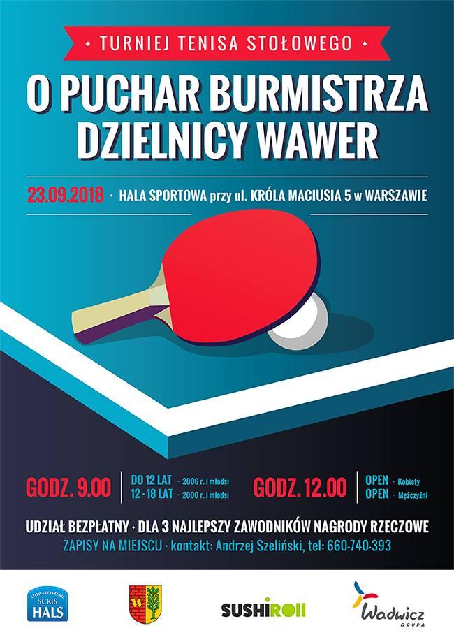Plakat turnieju Turniej o Puchar Burmistrza Dzielnicy Wawer