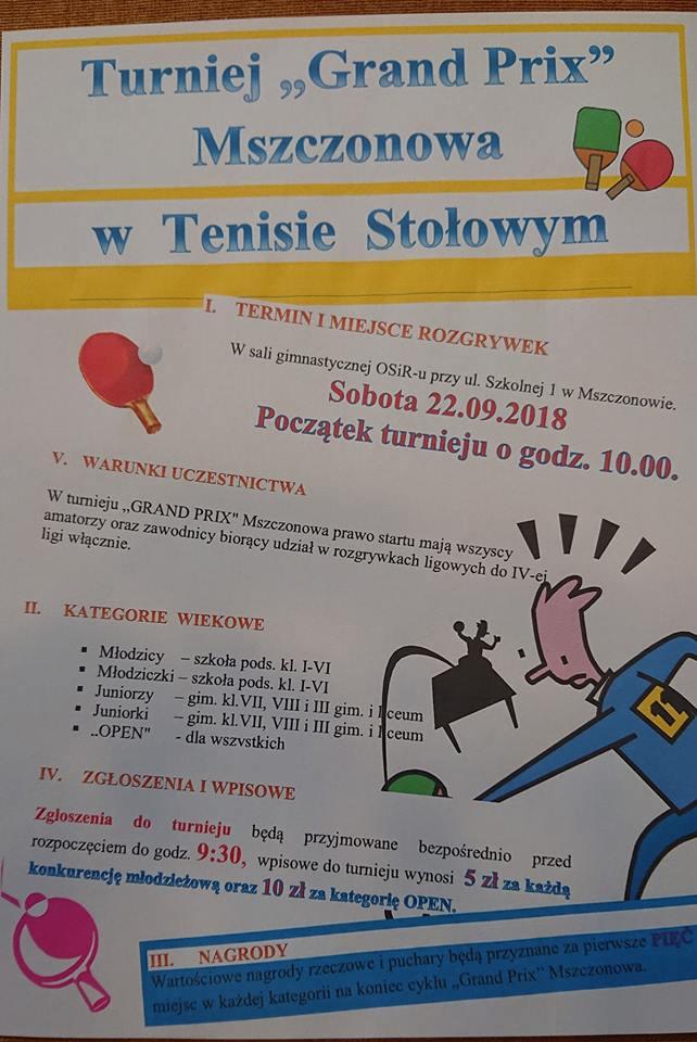 Plakat turnieju I GRAND PRIX Mszczonowa