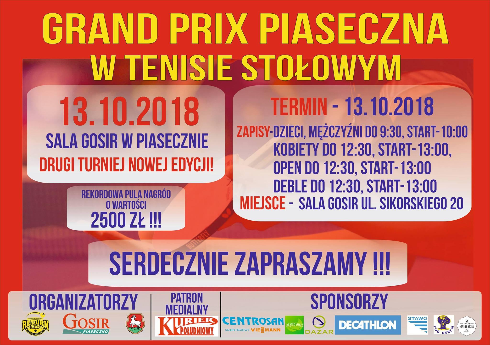 Plakat turnieju II Grand Prix Piaseczna w tenisie stołowym XXI edycji