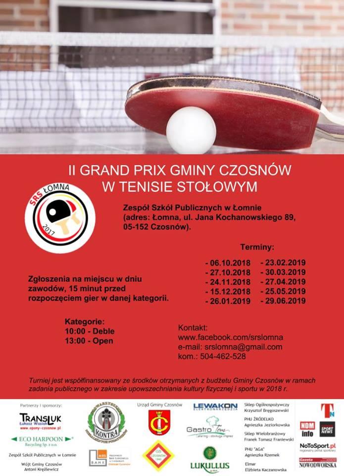Plakat turnieju II GRAND PRIX Gminy Czosnów w tenisie stołowym - 4 turniej - zakończenie roku 2018