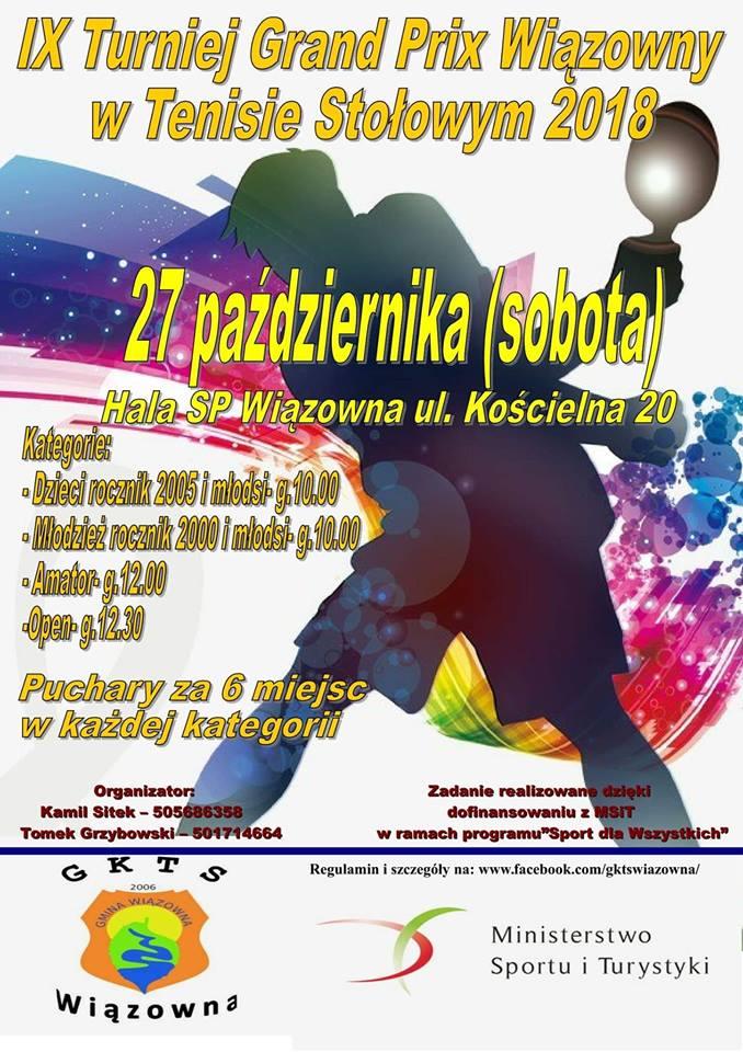 Plakat turnieju  IX Turniej Grand Prix Wiązowny w Tenisie Stołowym 2018 - ruszamy 9 września!