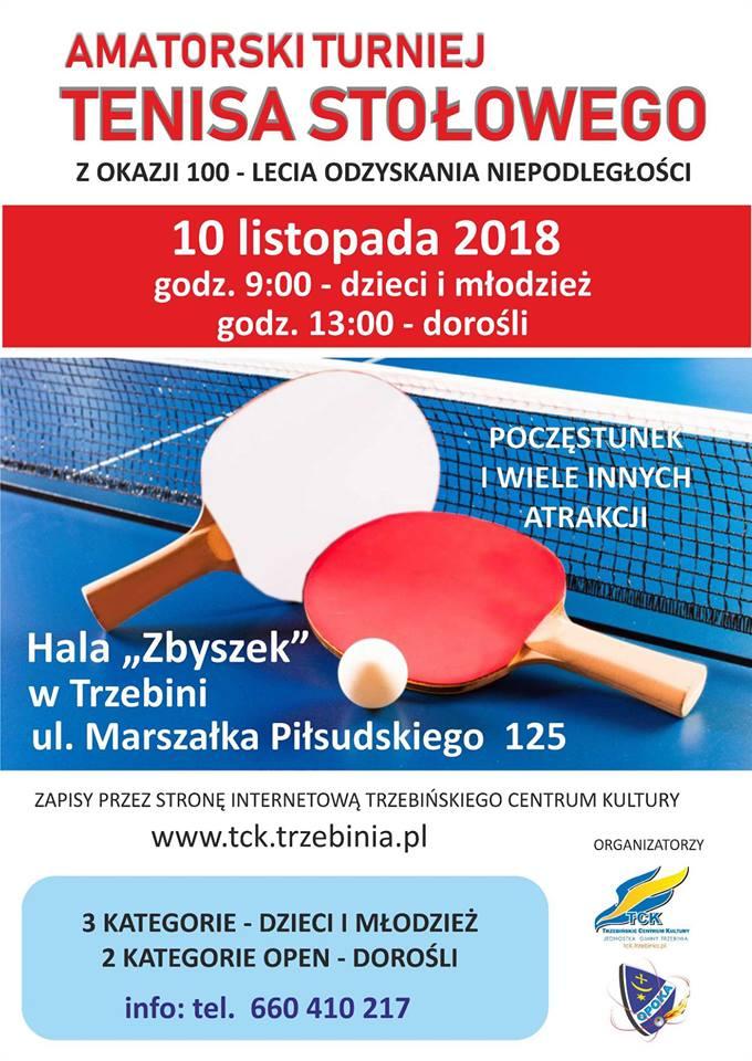 Plakat turnieju Amatorski turniej tenisa stołowego z okazji 100 -lecia Odzyskania Niepodległości