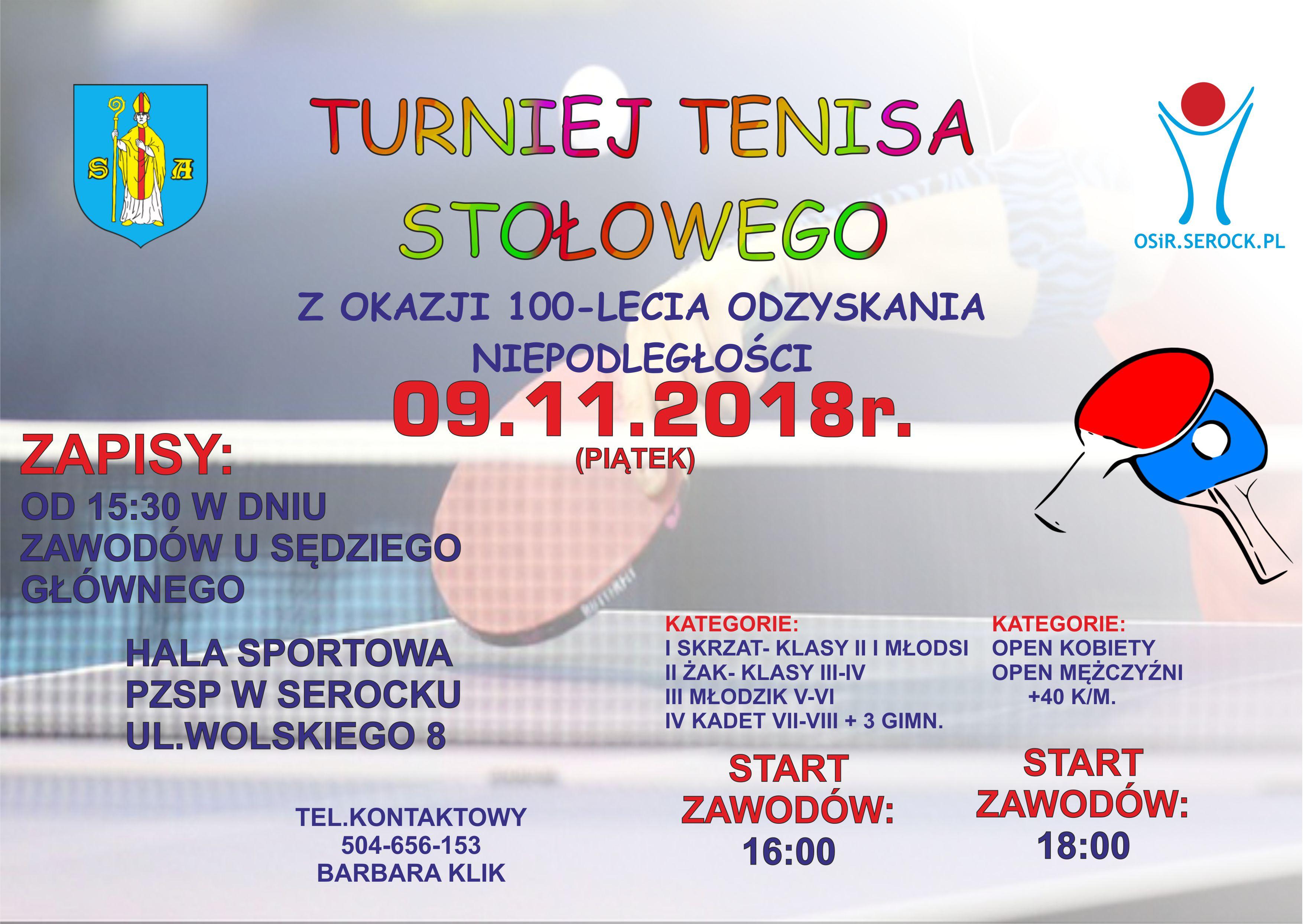 Plakat turnieju Turniej tenisa stołowego z okazji 100-lecia odzyskania niepodległości Serock