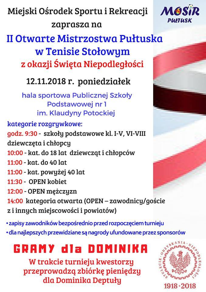 Plakat turnieju II Otwarte Mistrzostwa Pułtuska w Tenisie Stołowym z okazji Święta Niepodległości (100 lat Niepodległości)