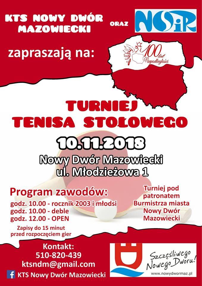 Plakat turnieju Turniej Tenisa Stołowego (100 lat niepodległości) Nowy Dwór Mazowiecki