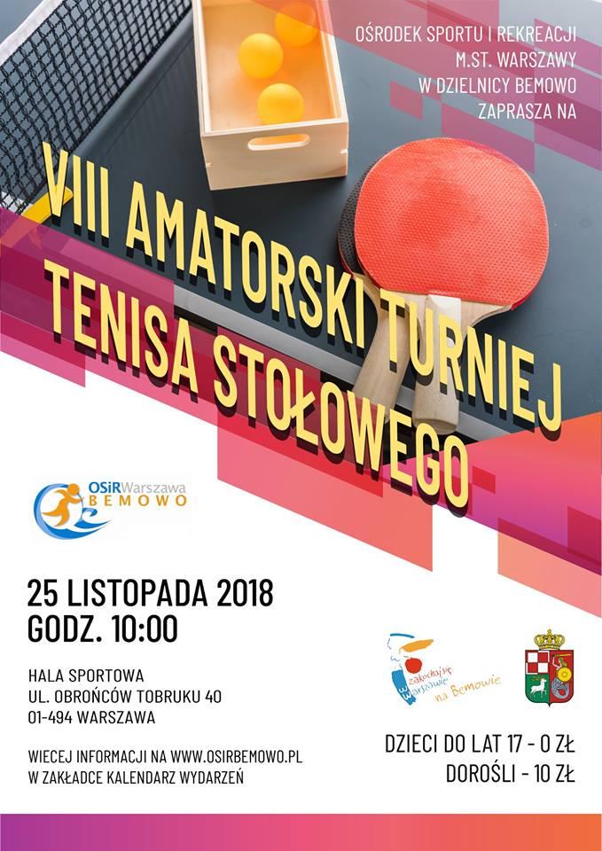Plakat turnieju VIII Amatorski Turniej Tenisa Stołowego w OSiR Bemowo