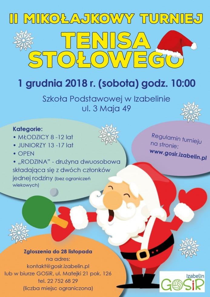 Plakat turnieju II Mikołajkowy Turniej Tenisa Stołowego - Izabelin
