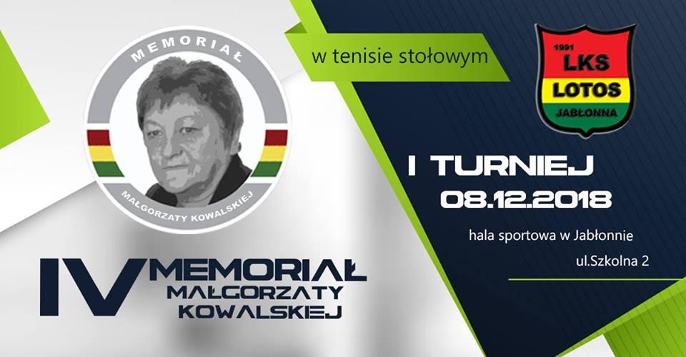 Plakat turnieju IV Memoriał Małgorzaty Kowalskiej w tenisie stołowym- turniej 1