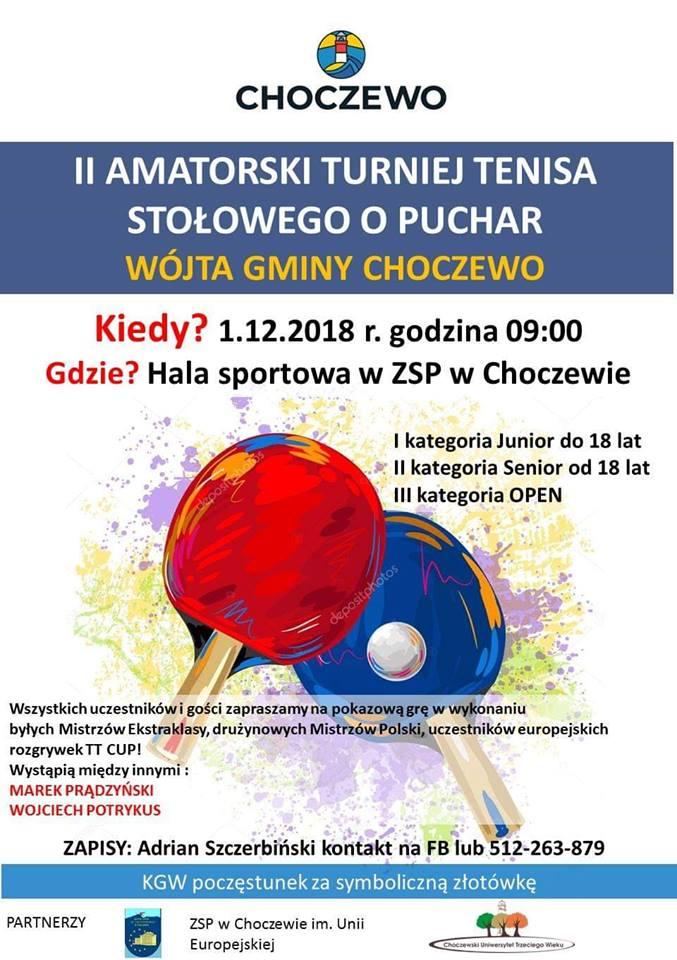 Plakat turnieju II Amatorski Turniej Tenisa Stołowego o Puchar Wójta Gminy Choczewo