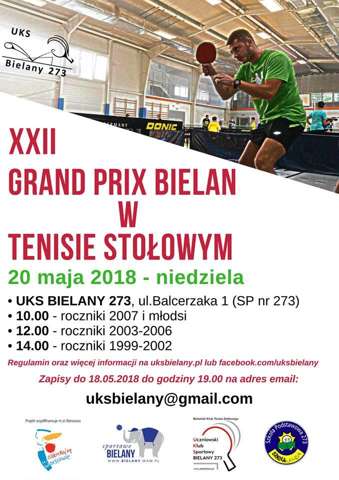Plakat turnieju XXII Grand Prix Bielan w Tenisie Stołowym- Turniej I
