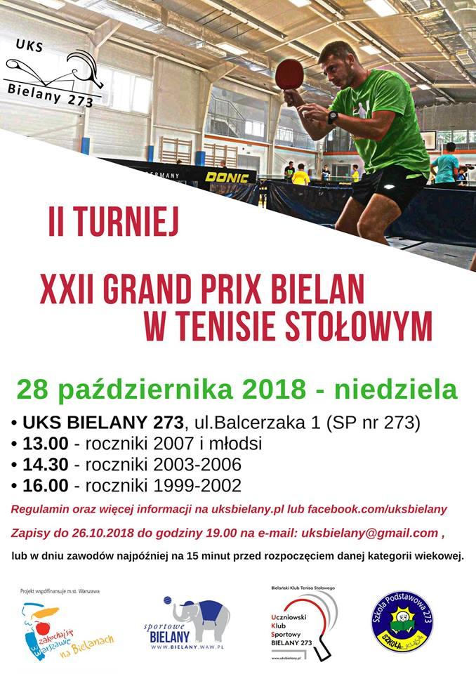 Plakat turnieju XXII Grand Prix Bielan w Tenisie Stołowym- Turniej II